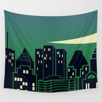 montreal Wall Tapestries featuring Montreal Skyline by Wheel of Fortune