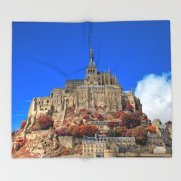 Autumn Shades of Mont Saint-Michel Throw Blanket
