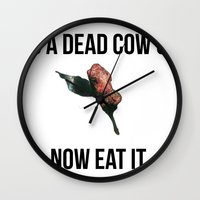 vegetarian Wall Clocks featuring Vegetarian Support by Barbara Baron