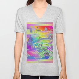 SCRIBBLES AND PATTERNS ABSTRACT DESIGN Unisex V-Neck