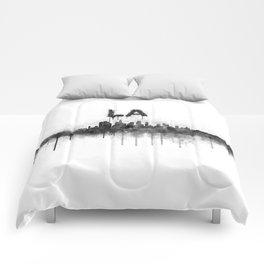 Los Angeles City Skyline HQ v5 BW Comforters