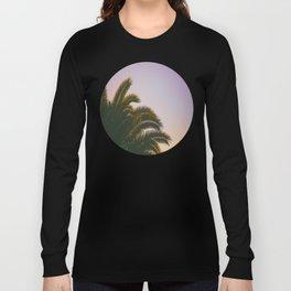 Sunset Purple Palm Tree Circle Photo Long Sleeve T-shirt