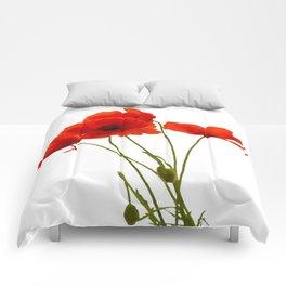Delicate Red Poppies Vector Comforters
