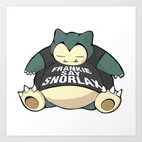 snorlax Art Prints featuring Frankie Say Snorlax by The Geekerie