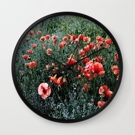 Poppies In A Field Wall Clock
