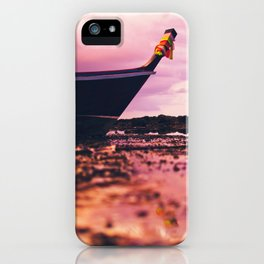 Thai longtail boat on the beach iPhone Case