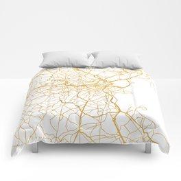 BOSTON MASSACHUSETTS CITY STREET MAP ART Comforters