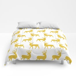 Mid Century Modern Deer Pattern Mustard Yellow 3 Comforters