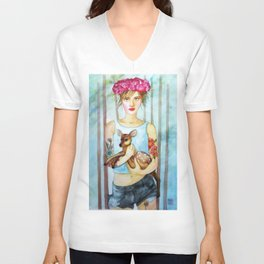 Girl with fawn Unisex V-Neck