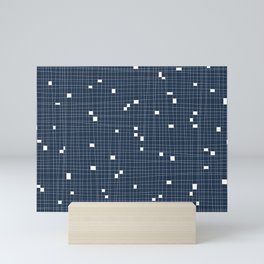 Blue and White Grid - Missing Pieces Mini Art Print