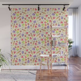 Ice Lollies and Summer Fruit on cream Wall Mural