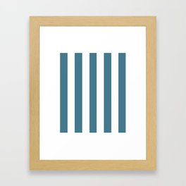 Jelly bean blue - solid color - white vertical lines pattern Framed Art Print