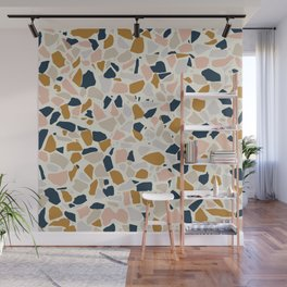 Terrazzo Mosaic Pattern, Gold, Navy, Blush Pink, Neutrals Wall Mural