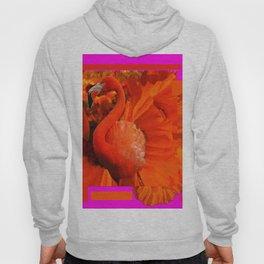 ART DECO  Saffron Flamingo Orange  Fuchsia Fantasy Painting Hoody
