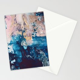 Breathe Again: a vibrant mixed-media piece in blues pinks and gold by Alyssa Hamilton Art Stationery Cards