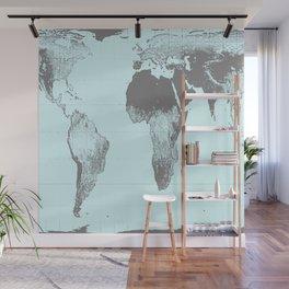 World Map : Gall Peters Aqua Wall Mural