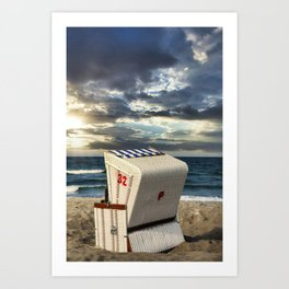 Baltic Sea Beach Chair Amazing Sunset Art Print