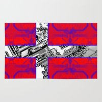 denmark Area & Throw Rugs featuring circuit board Flag (Denmark) by seb mcnulty