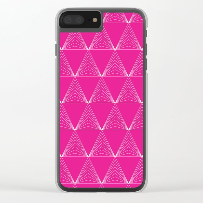 Simple Geometric Triangle Pattern- White on Pink - Mix & Match with Simplicity of life Clear iPhone Case
