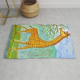 Watercolor painting Giraffe, safari Rug