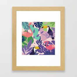 Tropical Jungle With Flamingos And Toucans Memphis Style Framed Art Print