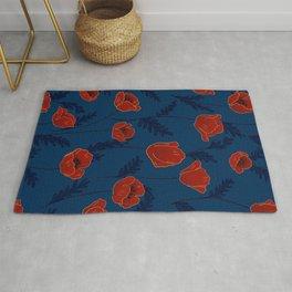Poppy nostalgia - Spring poppies pattern Rug