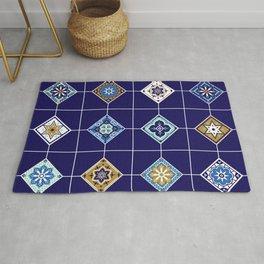 Talavera Mexican Tile – Navy & Bronze Palette Rug