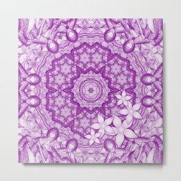 flowers on purple mandala Metal Print