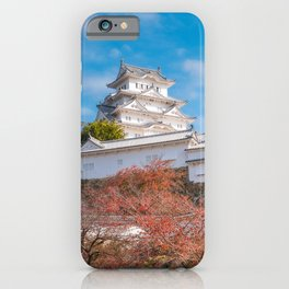 The white Architecture of Himeji Castle in autumn in Japan. iPhone Case
