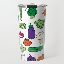 Cute Smiling Happy Veggies on white background Travel Mug