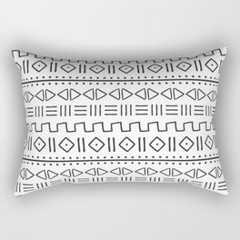 mudcloth charcoal on white Rectangular Pillow