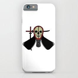 Skeleton Skull Wearing Japanese Kendo Fighting Mask iPhone Case