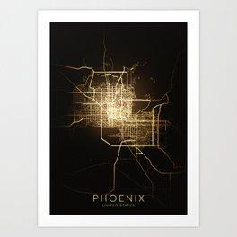 phoenix Arizona usa city night light map Art Print