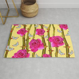 WHITE BUTTERFLIES & CERISE PINK ROSE THORN CANES YELLOW Rug