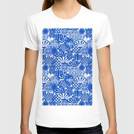 Chinese Symbols in Blue Porcelain T-shirt