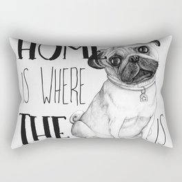 Home Is Where The Dog Is (Pug) White Rectangular Pillow