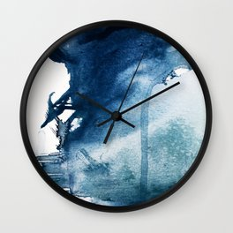 Pacific Grove: a pretty minimal abstract piece in blue by Alyssa Hamilton Art Wall Clock