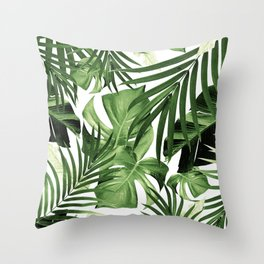 Tropical Jungle Leaves Pattern #12 #tropical #decor #art #society6 Throw Pillow