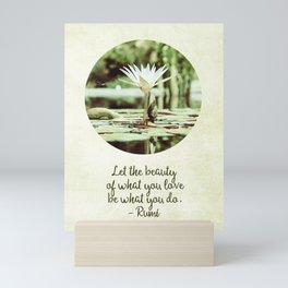 Zen Flower Water Lily With Inspirational Rumi Quote Mini Art Print