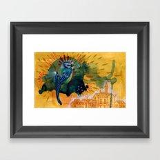 Blue Bird in Blue Cloud Framed Art Print