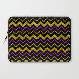Black gold pink glitter chevron, minimalist, abstract pattern, glam, sparkle Laptop Sleeve