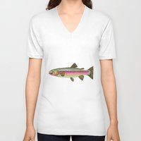 trout V-neck T-shirts featuring Rainbow Trout by Karissa Breuer Art