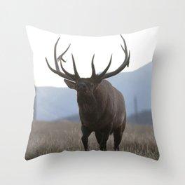Watercolor Elk Bull 48, Estes Park, Colorado, Rage Throw Pillow