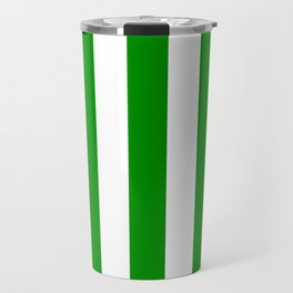 Islamic green - solid color - white vertical lines pattern Travel Mug