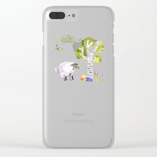 Easter Morning- Animal Sheep - for children Clear iPhone Case