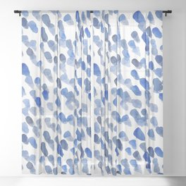 Imperfect brush strokes - blue Sheer Curtain
