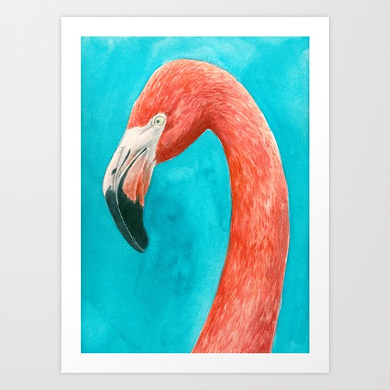 Flamingo watercolor portrait Art Print