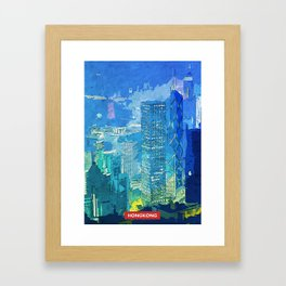 Hongkong city skyline Framed Art Print