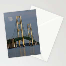 Moon and the Mackinac Bridge by the Straits of Mackinac Stationery Cards