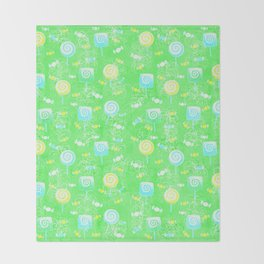 Lollipop and Candy Cheery Lime Green Confection Throw Blanket